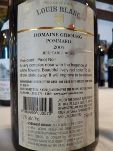 Domaine Gibourg, Louis Blanc, Pommard, Cow jumped over the Moon - back label