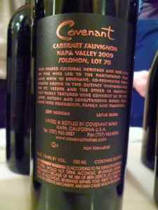 2009 Covenant Cabernet Sauvignon, Solomon Lot 70 - back label