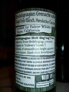 2010 Brobdignagian Grenache - back label