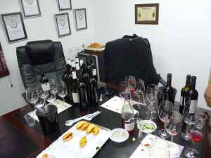 A picture of the 17 bottles of wine enjoyed at Teperberg Winery-small