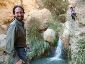 Doron by the small waterfall of Ein Gedi_