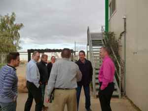 Eran Goldwasser winemaker of Yatir winery, etie, and guests from Finland outside of Yatir Winery-small