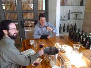 Josh Hexter, Doron Bennett, and the wines and cheeses enjoyed at Psagot Winry-small