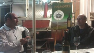 Nachum Greengrass and Gabriel Geller at the Hamasrek Winery