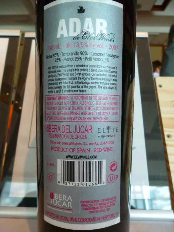 2007 Elvi WInes Adar Red - back label_