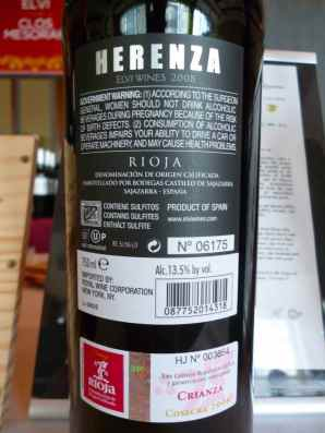 2008 Elvi Wines Herenza, Crianza - back label_