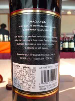 2009 Hagafen Cabernet Sauvignon, Napa Valley - back label_
