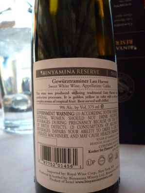 2010 Binyamina Gewurtztraminer, late harvest, cluster select - back label_