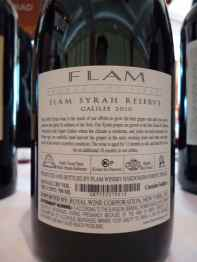 2010 Flam Syrah, Reserve - back label_