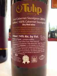 2011 Tulip Just Cabernet Sauvignon - back label_