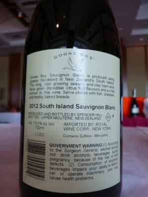 2012 Goose Bay Sauvignon Blanc - back label_