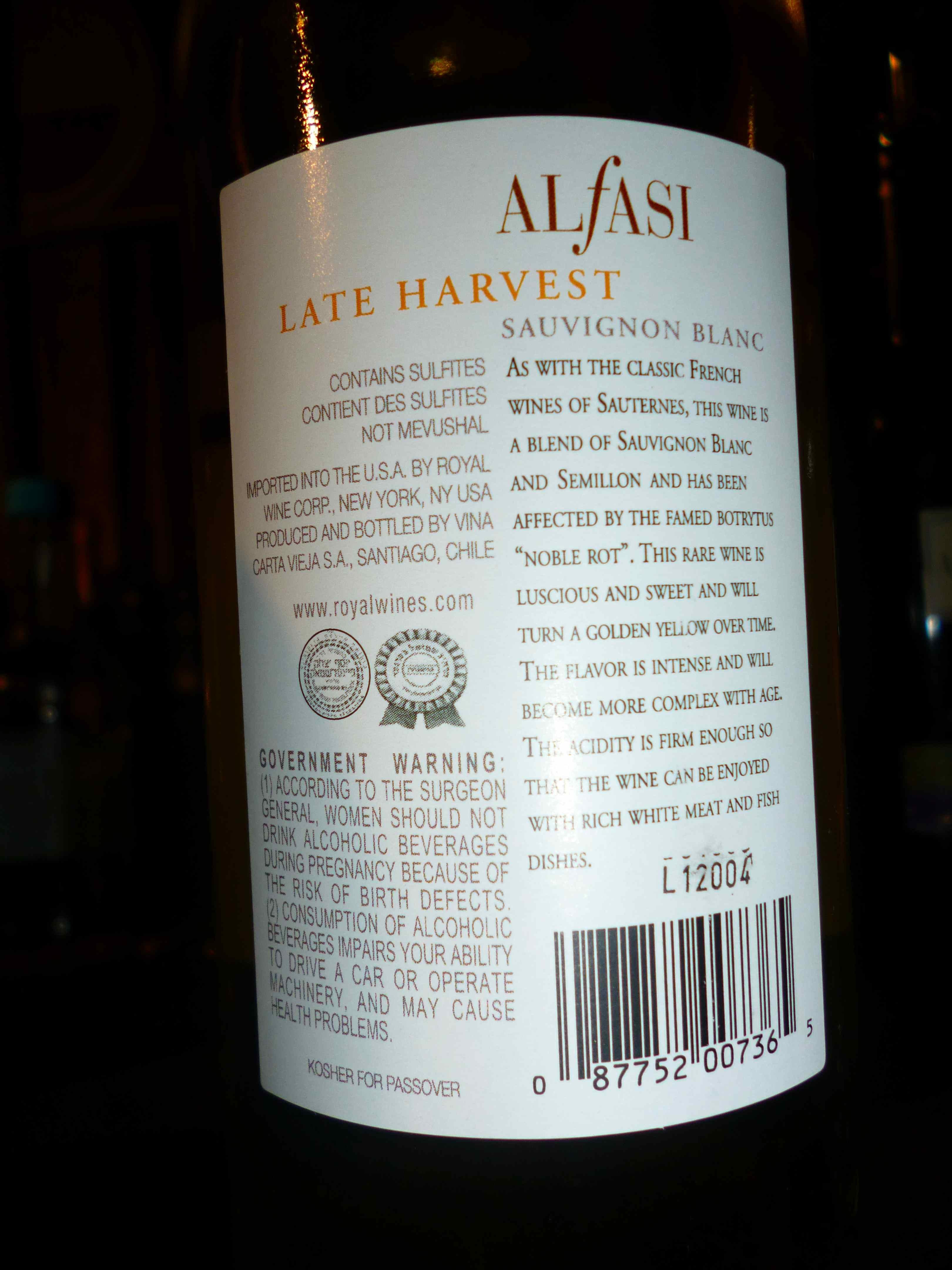 Alfasi Late harvest Sauvignon Blanc – back label | Wine Musings Blog