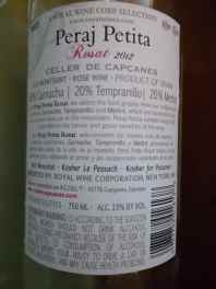 2012 Peraj Petita Rose:Rosat - back label