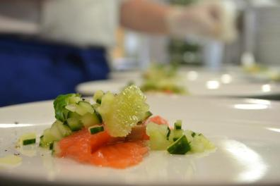 Gin Cured Salmon, Lime, Cucumber, and mint