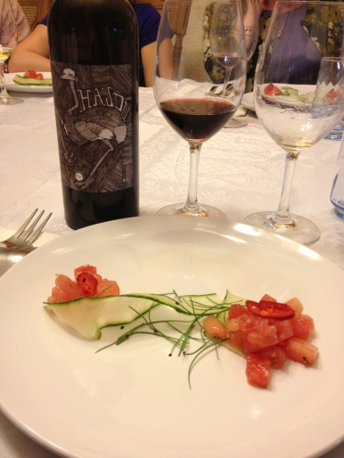 Hawaiian Tombo Tuna, Grilled Watermelon, Chili, Mint, Cucumber and 2011 Hajgu Grenache