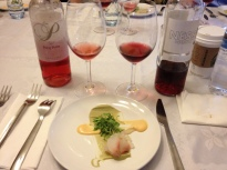 Hirame- Yuzu Avocado Puree, Siracha and 2012 Capcanes Rose:Rosat and 2011 Elvi Rose:Rosado