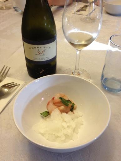 Kampachi, Thai Bail Chili Granita and 2012 GooseBay Sauvignan Blanc