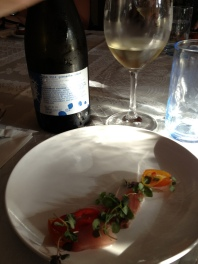 Local Yellowtail, Candied Kumquat, Raw Cumquat, Shiso, Chili and 2012 Makom Grenache Blanc 2