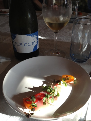 Local Yellowtail, Candied Kumquat, Raw Cumquat, Shiso, Chili and 2012 Makom Grenache Blanc