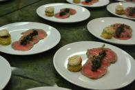 Rib Eye Carpaccio, Marrow Torchon on shmaltz Brioche, Cherry Mustard Tapenade