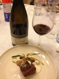 Seeded Rye Gnocchi, Short Rib Pastrami, Kraut Puree, Dill Pickle Vin, Shaved Rye Bread and 2005 galil Yiron Syrah