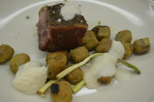 Shortrib Pastrami, Sauerkraut Foam, Deli Rye Gnocchi, Roasted Ramp, Rye Crumbs
