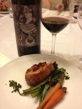 Smoked Veal Loin, Red Pepper Mostarda, Charred Broccolini and 2011 Hajdu Syrah