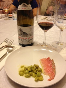toro with fresh chickpeas, green olives. lotsa olive oil - and 2004 French Clos de Vougout burgundy