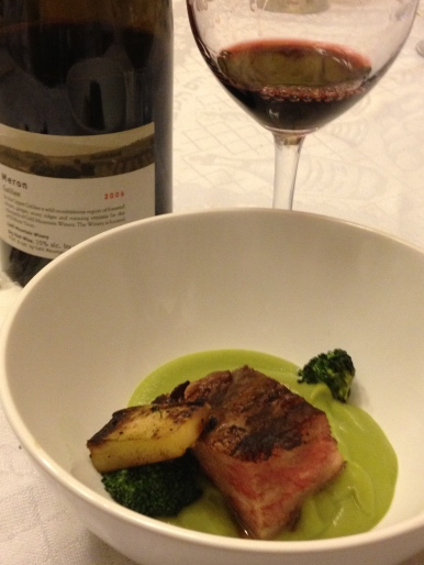 Waygu Short Rib, Broccoli Stem, Broccoli, Puree, Charred Broccoli Florets and 2006 Galil Meron 3
