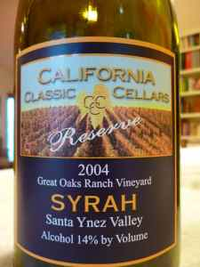 2004 California Classic Cellars Syrah, Reserve