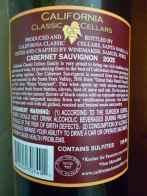 2005 California Classic Cellars Cabernet Sauvignon - back label