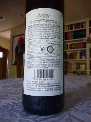 2010 Gvaot Cabernet Sauvignon, Herodion - back label