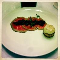 Beef Carpaccio, Cherry Mostarda, Marrow Toast
