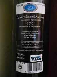 2010 Chiusa Grande Montepulciano d'Abruzzo - back label