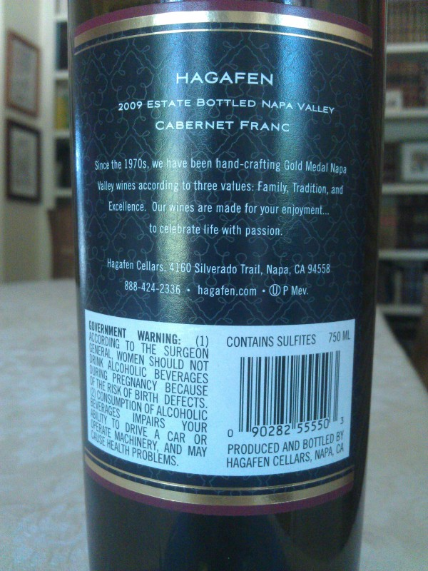 2009 Hagafen Cabernet Franc - back label