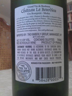 Chateau Le Bourieu - Back label