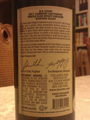 2011 B.R. Cohn Cabernet Sauvignon, Trestle Glen Estate Vineyard - back label