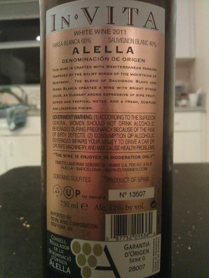 2011 Elvi Wines Invita - back label