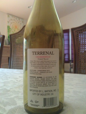 2013 Terrenal Chardonnay, Chile - back label