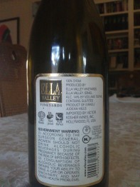 2007 Ella Valley Syrah - back label