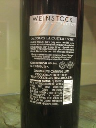 2011 Weinstock Alicante Bouschet - back label