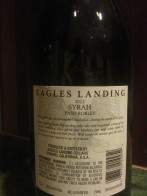 2012 Eagles landing Syrah - back label