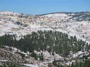 Snow mountains surrounding Jerusalem