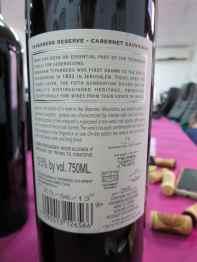 2011 Teperberg Cabernet Sauvignon, Reserve - back label