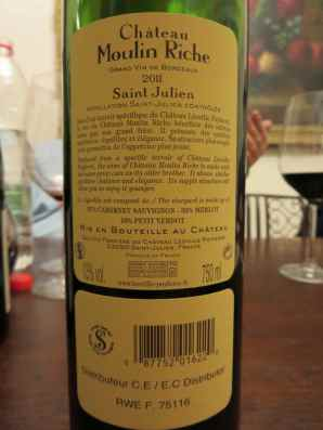 2011 Chateau Moulin Riche, Saint Julein - back label