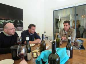 Eran Pick, Nicolas Daniel Ranson and Christophe Bardeau tasting at Tzora Winery