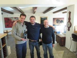 Eran Pick, Nicolas Daniel Ranson and Christophe Bardeau with 2011 Echo de Roses Camille at Tzora Winery