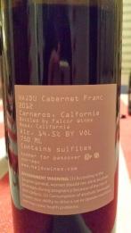 2012 Hajdu Cabernet Franc - back label