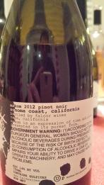 2012 Makom Pinot Noir - back label