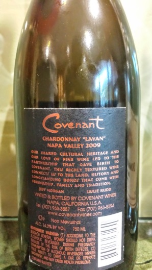 2009 Covenant Chardonnay, Lavan - back label